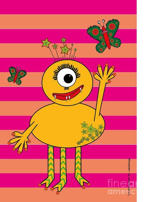 Kids Greeting Card featuring the digital art Star Monster by Natalija Gajic