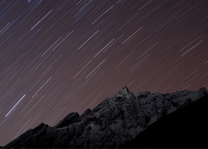 Colour Image Greeting Card featuring the photograph Star Trails Above Himal Chuli Created by Alex Treadway