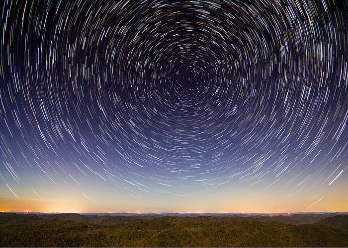 Stars Greeting Card featuring the photograph Star Trails Over Mountains by Cris Ritchie