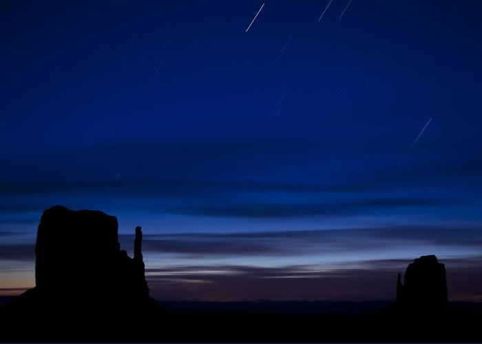 Star Greeting Card featuring the photograph Star Trails Over The West by Andrew Soundarajan