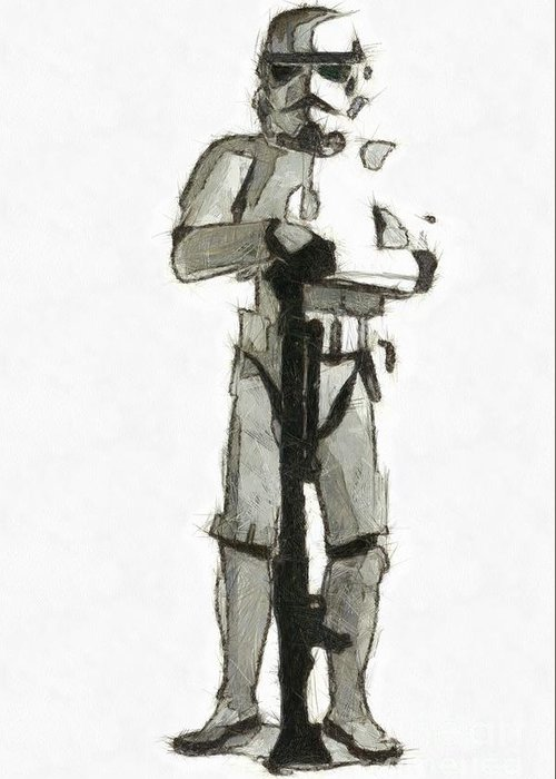 Pencil Greeting Card featuring the drawing Star Wars Storm Trooper Pencil Drawing by Edward Fielding