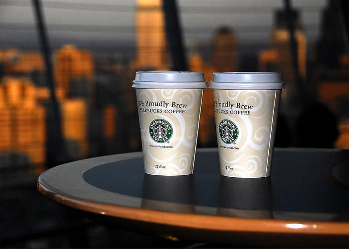 Coffee Greeting Card featuring the photograph Starbucks At The Top by David Lee Thompson
