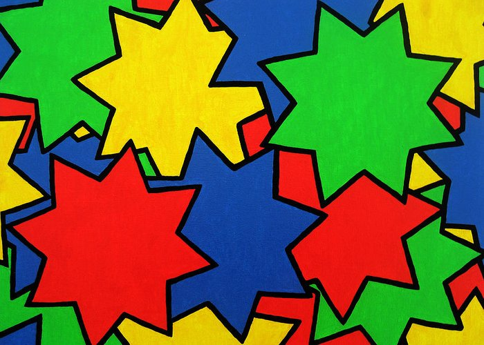Stars Greeting Card featuring the painting Starburst by Oliver Johnston