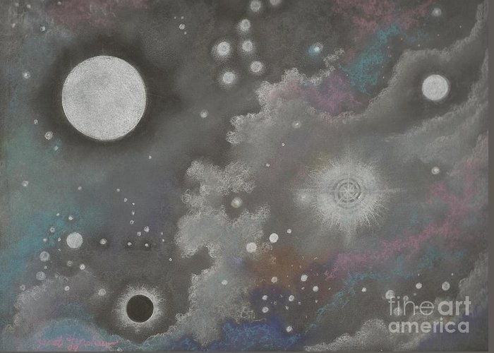 Atmospheric Greeting Card featuring the drawing Stardust by Janet Hinshaw