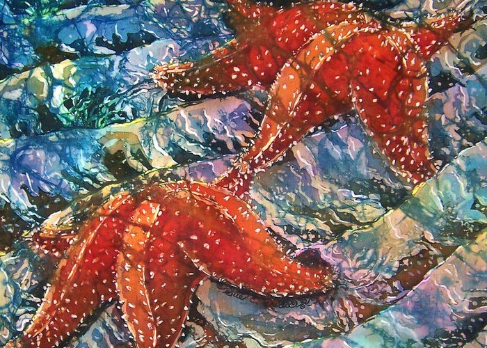 Starfish Greeting Card featuring the painting Starfish 1 by Sue Duda