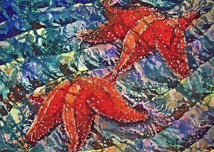 Stars Greeting Card featuring the painting Starfish 2 by Sue Duda