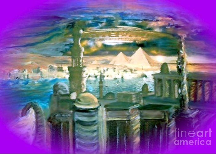 Stargate Greeting Card featuring the painting Stargate by Stanley Morganstein