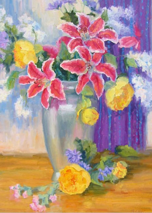 Still Life Greeting Card featuring the painting Stargazers And Peonies by Bunny Oliver