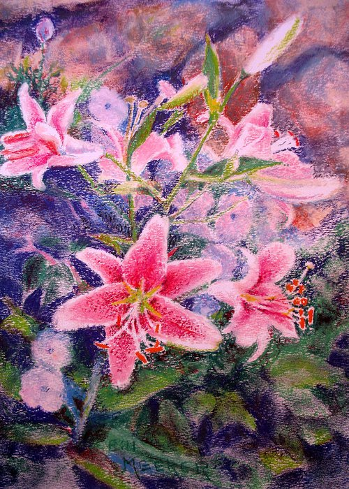 Floral Greeting Card featuring the painting Stargazers In Harmony by Bill Meeker