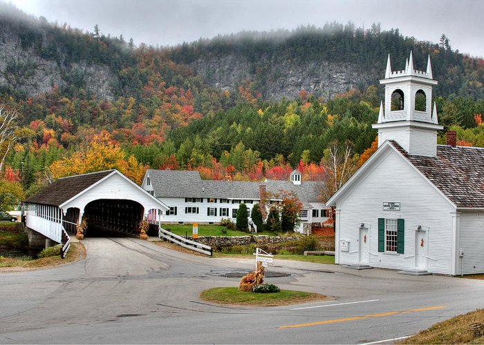 New Hampshire Greeting Card featuring the photograph Stark Covered Bridge And Village by Brett Pelletier
