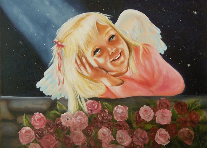 Angel Greeting Card featuring the painting Starlight Angel by Joni McPherson