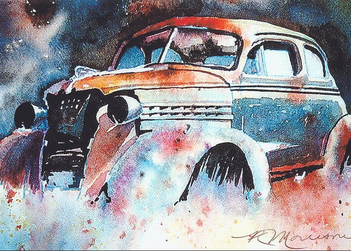Chev Greeting Card featuring the painting StarlightChevy by Ron Morrison