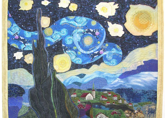 Van Gogh Greeting Card featuring the tapestry - textile Starry Flight by Salli McQuaid