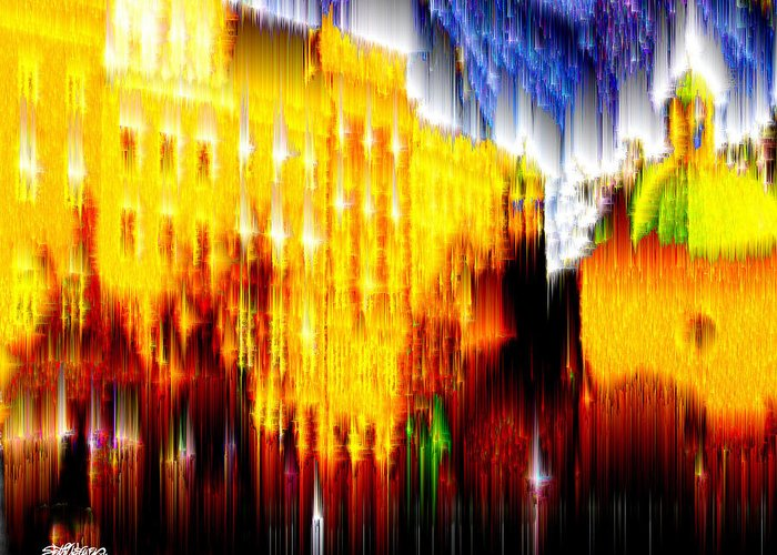 Old World Greeting Card featuring the digital art Starry Night In Prague by Seth Weaver