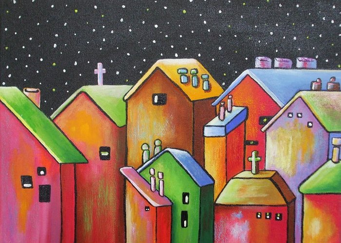 Landscape Greeting Card featuring the painting Starry Night In The Little City 1 by Janet Telander