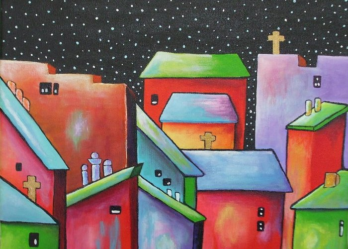 Landscape Greeting Card featuring the painting Starry Night In The Little City 2 by Janet Telander