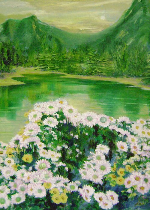Floral Greeting Card featuring the painting Stars By The River Side by Lian Zhen