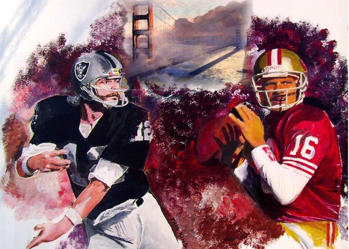 Raiders Greeting Card featuring the painting Stars Of The Bay by Phil King