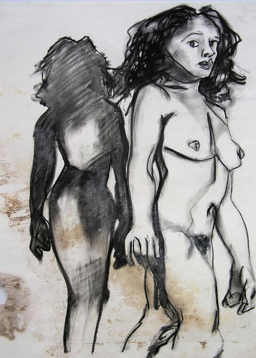 Charcoal Greeting Card featuring the drawing Startled by Brad Wilson