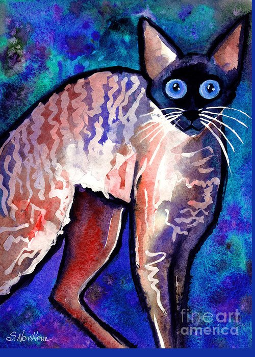 Cornish Rex Cat Painting Greeting Card featuring the painting Startled Cornish Rex Cat by Svetlana Novikova