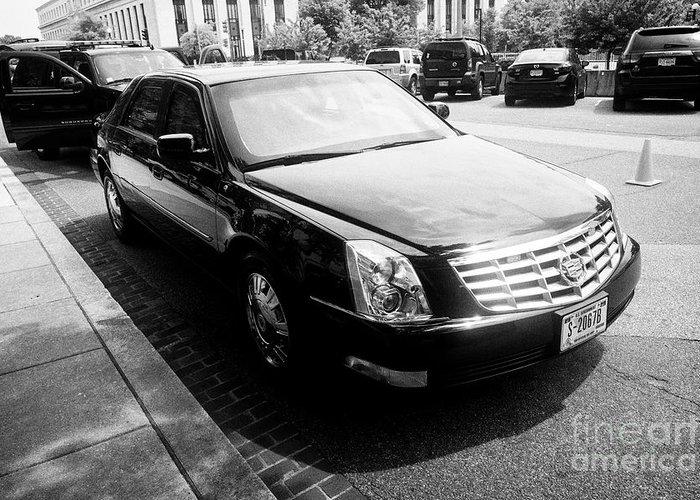 state department armored cadillac dts deville sedan vehicle Washington DC  USA Greeting Card