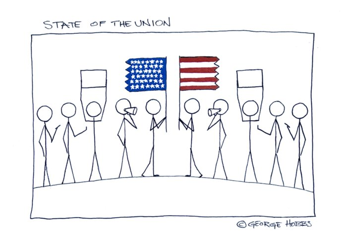 America Greeting Card featuring the painting State Of The Union by George Hobbs