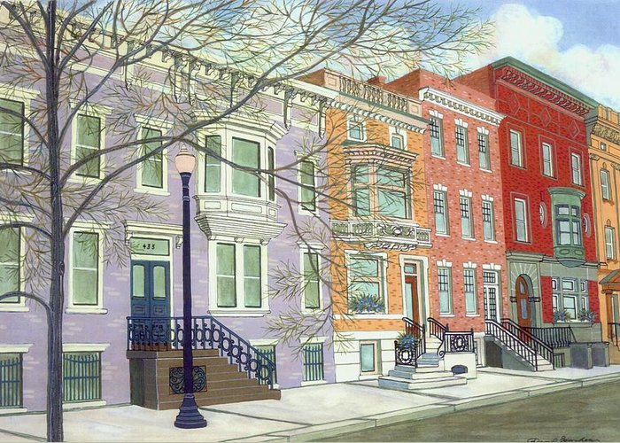 City Greeting Card featuring the painting State Street by David Hinchen