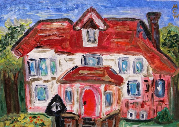 Urban Greeting Card featuring the painting Stately City House by Mary Carol Williams