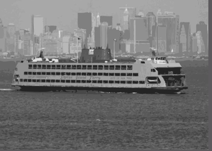 Staten Island Ferry In New York Greeting Cards