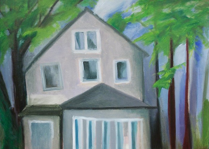Suburbanscape Greeting Card featuring the painting Staten Island House by Ron Erickson