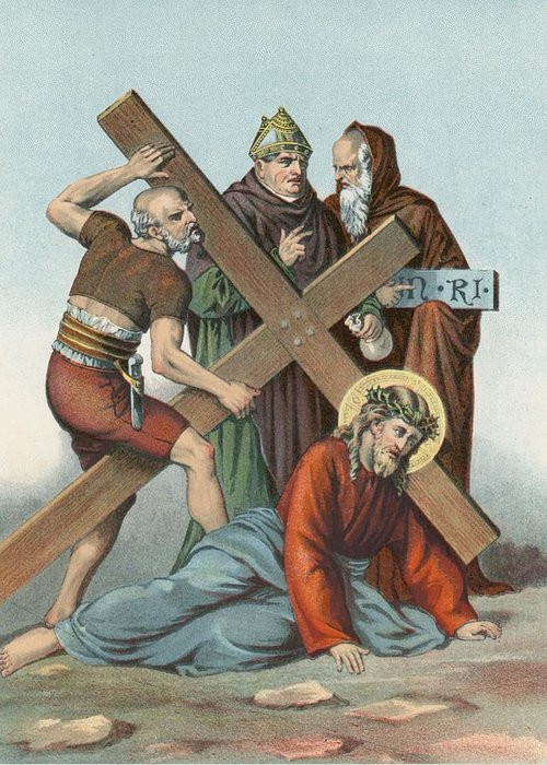 Catholic; Bible; Religion; Truth; Station Ix; Jesus Falls; Cross; Time Greeting Card featuring the painting Station Ix Jesus Falls Under The Cross The Third Time by English School
