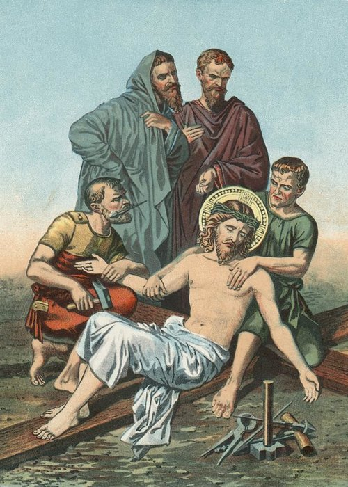 Catholic; Bible; Religion; Truth; Station Xi; Jesus; Nailed; Cross Greeting Card featuring the painting Station Xi Jesus Is Nailed To The Cross by English School