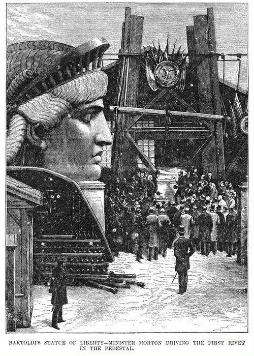 1881 Greeting Card featuring the photograph Statue Of Liberty, 1881 by Granger