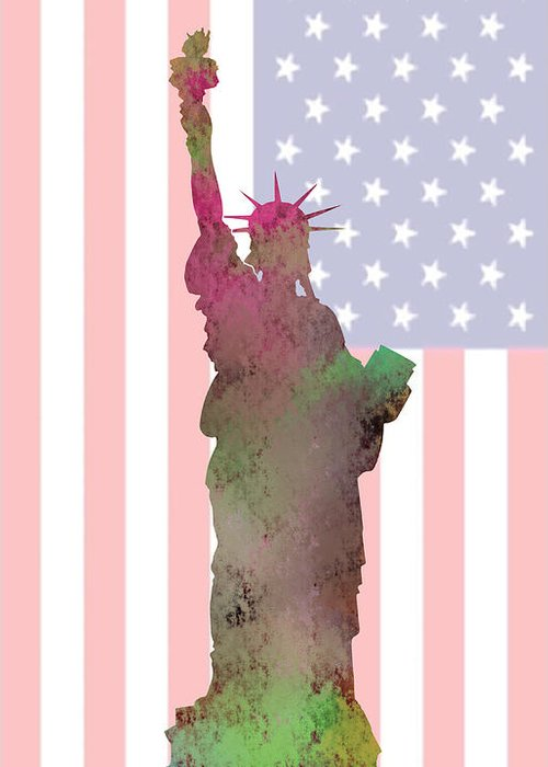 Statue Of Liberty Greeting Card featuring the digital art Statue Of Liberty by Khajohnpan Sauychalad
