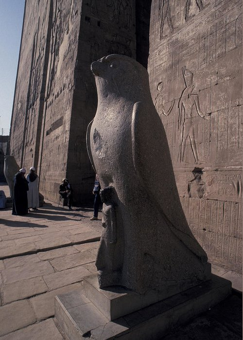 Pyramid Greeting Card featuring the photograph Statue Of The Bird God, Horus by Richard Nowitz
