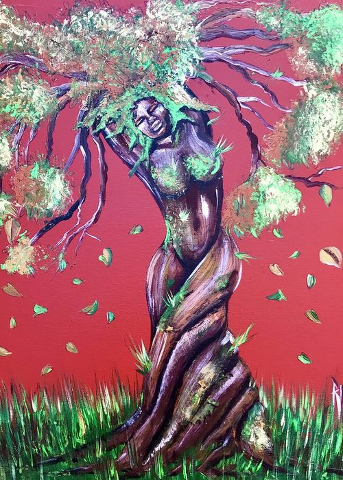 Tree Greeting Card featuring the painting Stay Rooted- Stay Grounded by Artist RiA