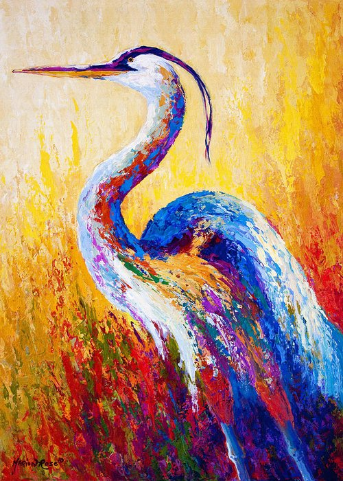 Heron Greeting Card featuring the painting Steady Gaze - Great Blue Heron by Marion Rose