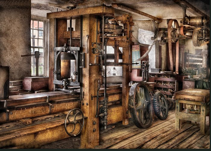 Hdr Greeting Card featuring the photograph Steam Punk - The Press by Mike Savad