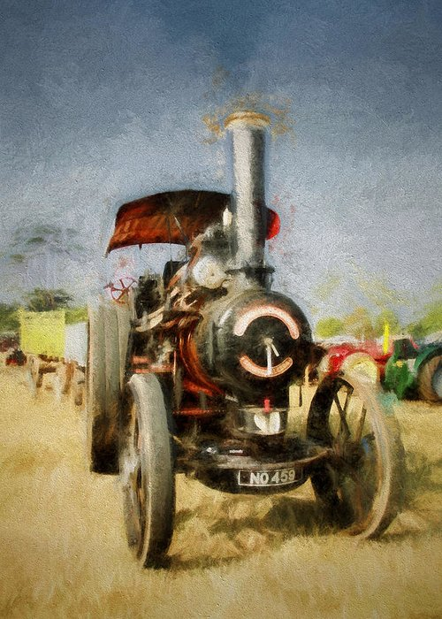 Art Greeting Card featuring the digital art Steam Traction Engine by Martin Fry