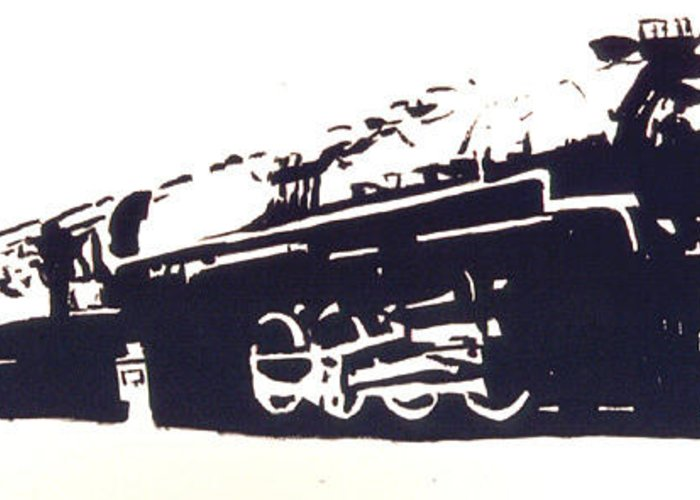 Steam Greeting Card featuring the painting Steam Train by Lloyd Bast