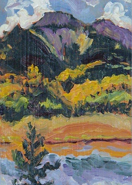 Steamboat Lake State Park Greeting Card featuring the painting Steamboat Lake State Park Sand Mountain From Bridge Island by Zanobia Shalks