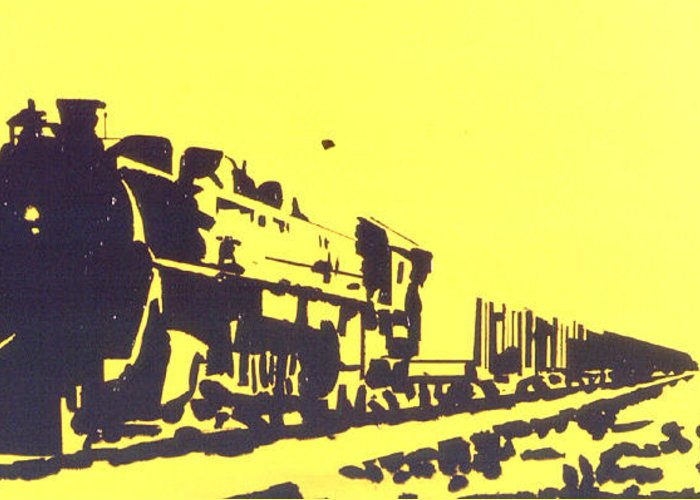 Steam Train Greeting Card featuring the painting Steamer by Lloyd Bast