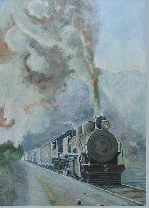 Steam Trains Greeting Card featuring the painting Steaming Through The Andes by Wendy Head