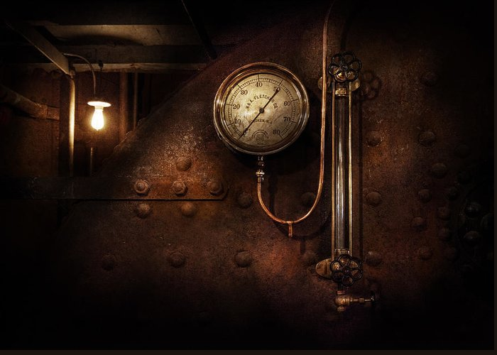 Hdr Greeting Card featuring the photograph Steampunk - Boiler Gauge by Mike Savad