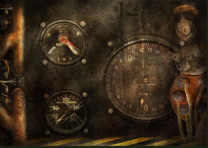 Hdr Greeting Card featuring the photograph Steampunk - Check Your Pressure by Mike Savad