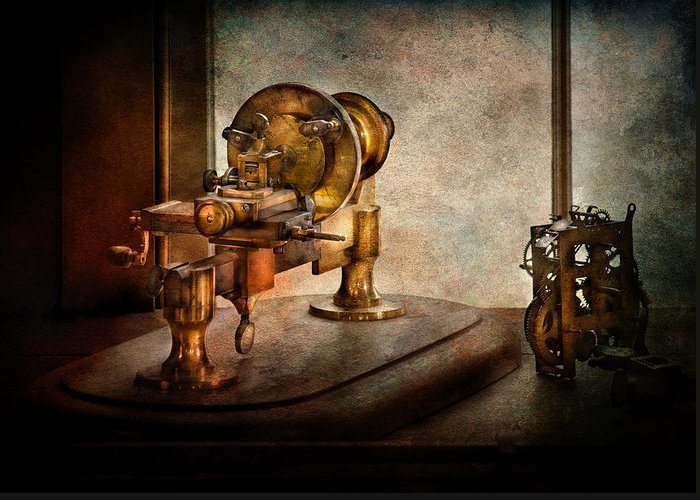 Hdr Greeting Card featuring the photograph Steampunk - Gear Technology by Mike Savad