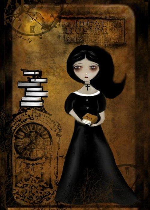 Goth Girl Digital Art Greeting Cards