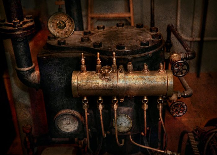 Steampunk Greeting Card featuring the photograph Steampunk - Plumbing - The Valve Matrix by Mike Savad