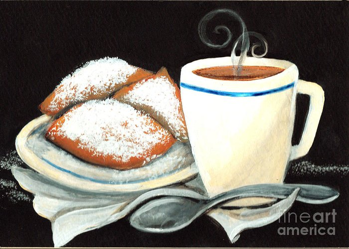 New Orleans Greeting Card featuring the painting Steamy Coffee Swirls by Elaine Hodges