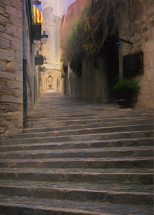 Joan Carroll Greeting Card featuring the photograph Steep Steps Of Girona by Joan Carroll
